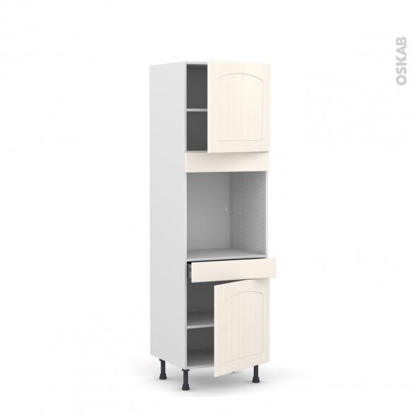 SILEN Ivoire - Colonne Four N°1616  - 2 portes 1 tiroir - L60xH195xP58 - droite