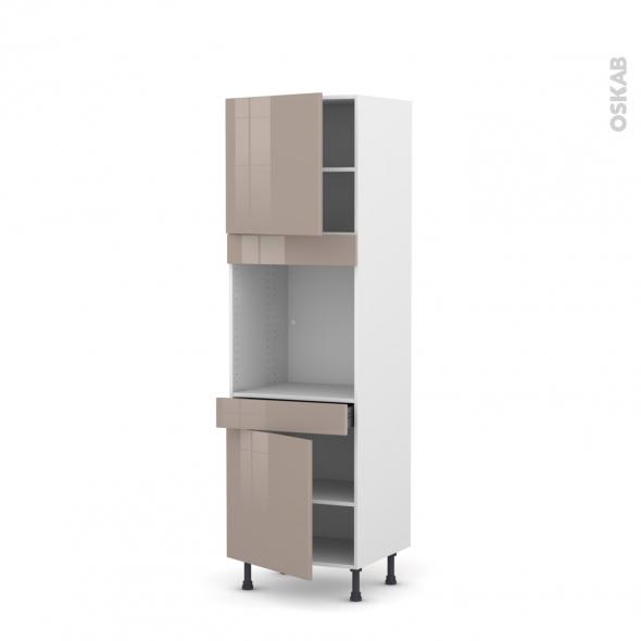 Colonne de cuisine N°1616 - Four encastrable niche 60 - KERIA Moka - 2 portes 1 tiroir - L60 x H195 x P58 cm