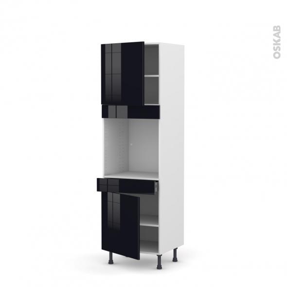 Colonne de cuisine N°1616 - Four encastrable niche 60 - KERIA Noir - 2 portes 1 tiroir - L60 x H195 x P58 cm
