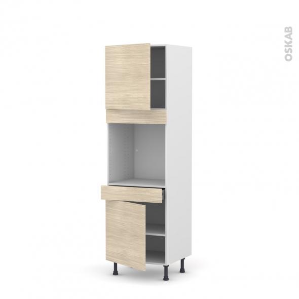 Colonne de cuisine N°1616 - Four encastrable niche 60 - STILO Noyer Blanchi - 2 portes 1 tiroir - L60 x H195 x P58 cm