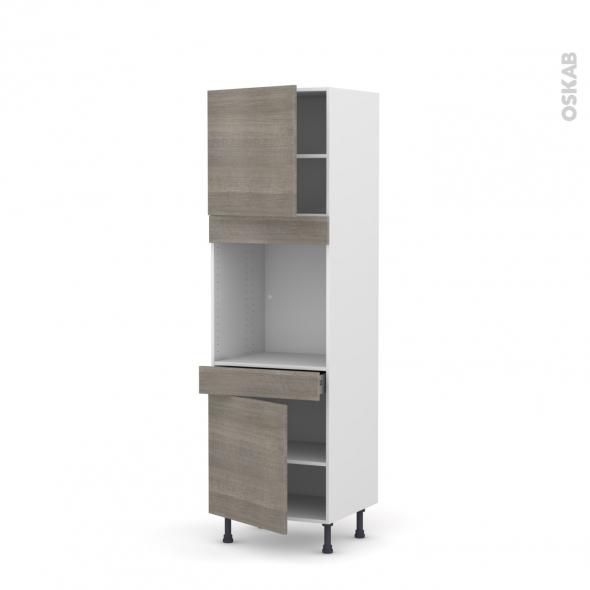 Colonne de cuisine N°1616 - Four encastrable niche 60 - STILO Noyer Naturel - 2 portes 1 tiroir - L60 x H195 x P58 cm