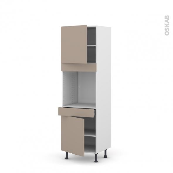 Colonne de cuisine N°1616 - Four encastrable niche 60 - GINKO Taupe - 2 portes 1 tiroir - L60 x H195 x P58 cm