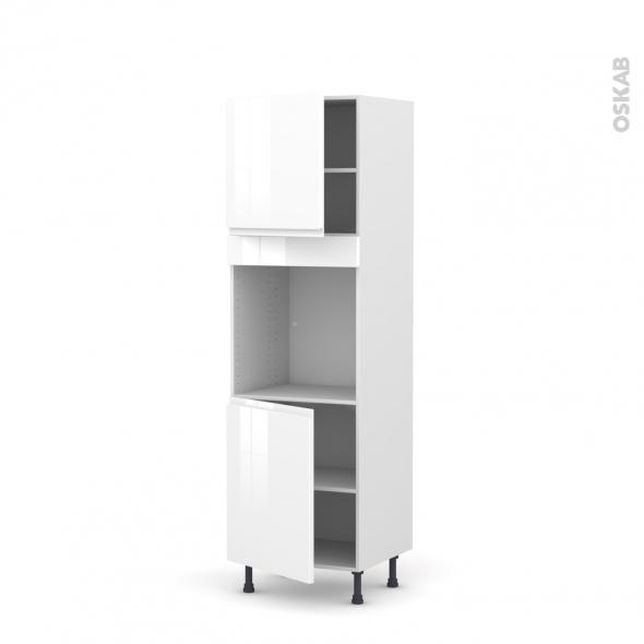 Colonne de cuisine N°1621 - Four encastrable niche 60 - IPOMA Blanc - 2 portes - L60 x H195 x P58 cm