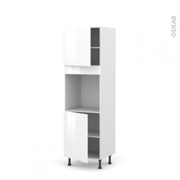 Colonne de cuisine N°1621 - Four encastrable niche 60 - IRIS Blanc - 2 portes - L60 x H195 x P58 cm