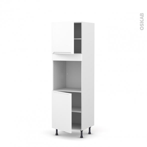 Colonne de cuisine N°1621 - Four encastrable niche 60 - PIMA Blanc - 2 portes - L60 x H195 x P58 cm