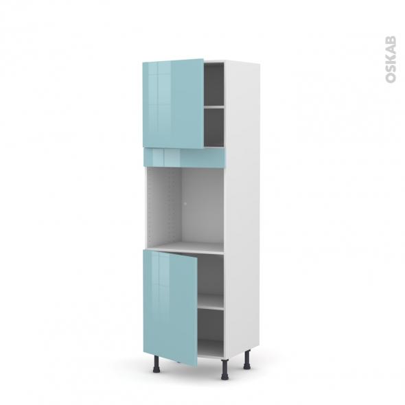 Colonne de cuisine N°1621 - Four encastrable niche 60 - KERIA Bleu - 2 portes - L60 x H195 x P58 cm