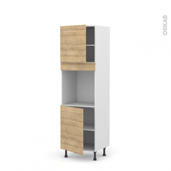 Colonne de cuisine N°1621 - Four encastrable niche 60 - HOSTA Chêne naturel - 2 portes - L60 x H195 x P58 cm