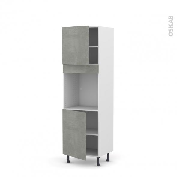 Colonne de cuisine N°1621 - Four encastrable niche 60 - FAKTO Béton - 2 portes - L60 x H195 x P58 cm