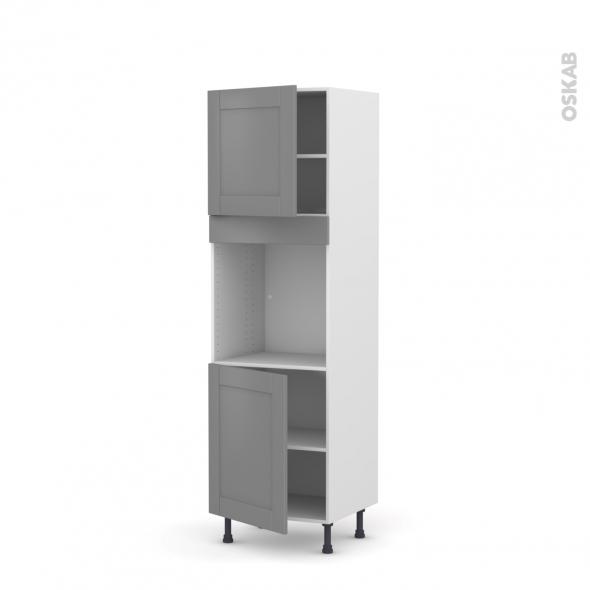 Colonne de cuisine N°1621 - Four encastrable niche 60 - FILIPEN Gris - 2 portes - L60 x H195 x P58 cm
