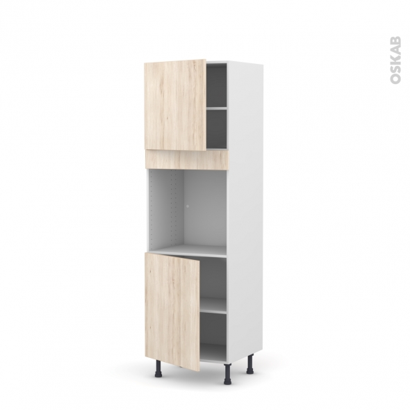 Colonne de cuisine N°1621 - Four encastrable niche 60 - IKORO Chêne clair - 2 portes - L60 x H195 x P58 cm