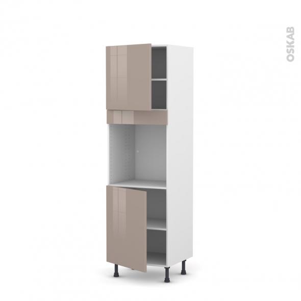 Colonne de cuisine N°1621 - Four encastrable niche 60 - KERIA Moka - 2 portes - L60 x H195 x P58 cm