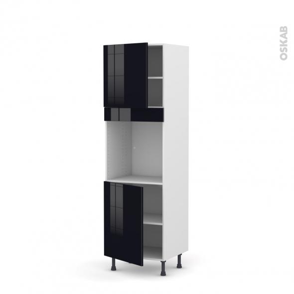 Colonne de cuisine N°1621 - Four encastrable niche 60 - KERIA Noir - 2 portes - L60 x H195 x P58 cm
