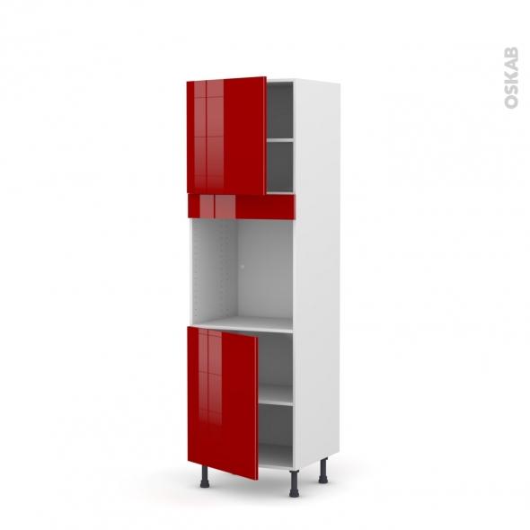 Colonne de cuisine N°1621 - Four encastrable niche 60 - STECIA Rouge - 2 portes - L60 x H195 x P58 cm