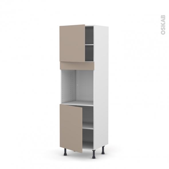 Colonne de cuisine N°1621 - Four encastrable niche 60 - GINKO Taupe - 2 portes - L60 x H195 x P58 cm