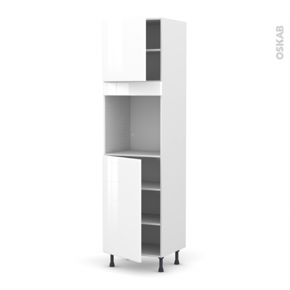 Colonne de cuisine N°1624 - Four encastrable niche 60 - IRIS Blanc - 2 portes - L60 x H217 x P58 cm