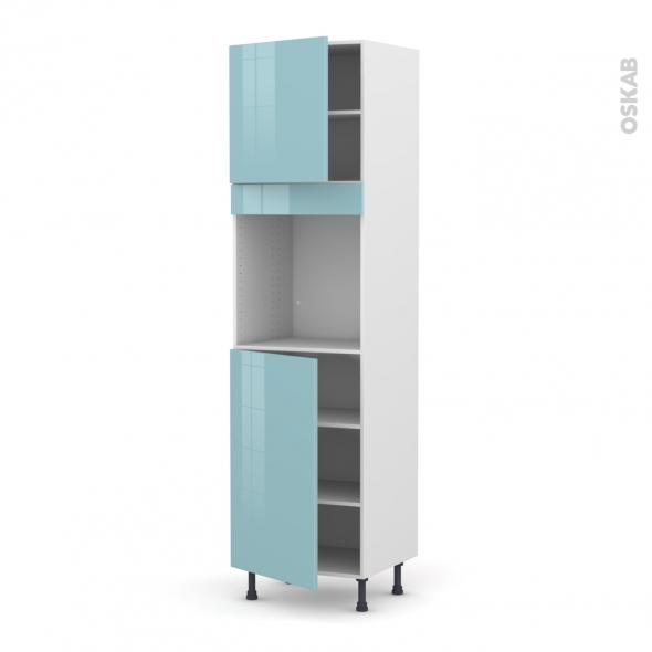 Colonne de cuisine N°1624 - Four encastrable niche 60 - KERIA Bleu - 2 portes - L60 x H217 x P58 cm