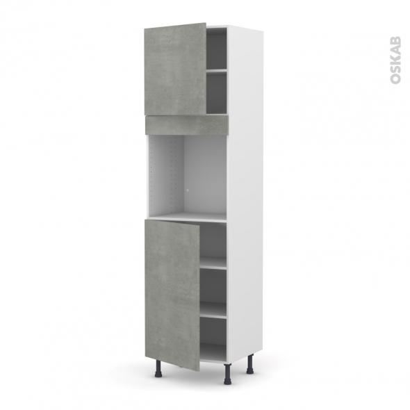 Colonne de cuisine N°1624 - Four encastrable niche 60 - FAKTO Béton - 2 portes - L60 x H217 x P58 cm