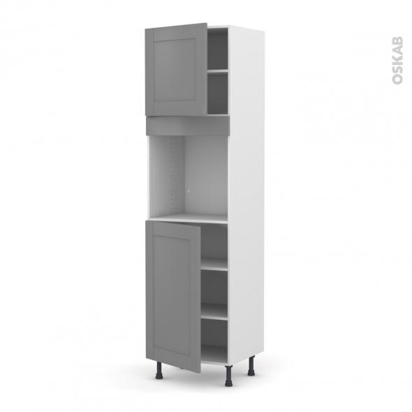 Colonne de cuisine N°1624 - Four encastrable niche 60 - FILIPEN Gris - 2 portes - L60 x H217 x P58 cm