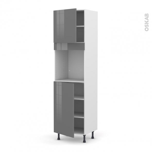 Colonne de cuisine N°1624 - Four encastrable niche 60 - STECIA Gris - 2 portes - L60 x H217 x P58 cm