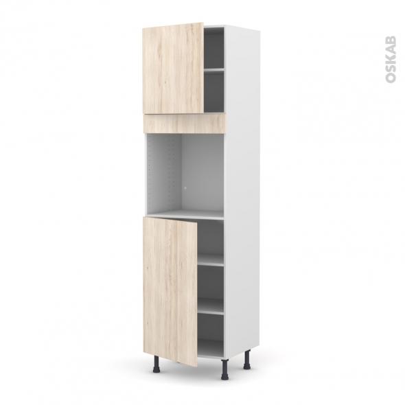 Colonne de cuisine N°1624 - Four encastrable niche 60 - IKORO Chêne clair - 2 portes - L60 x H217 x P58 cm