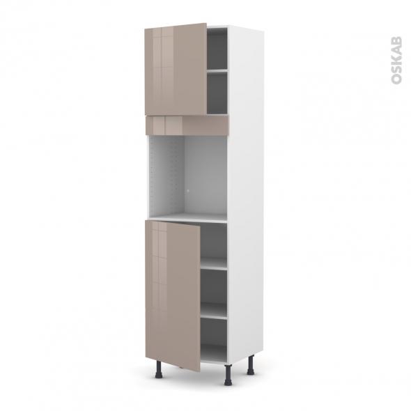 Colonne de cuisine N°1624 - Four encastrable niche 60 - KERIA Moka - 2 portes - L60 x H217 x P58 cm