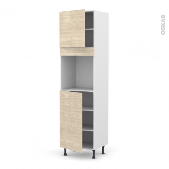 Colonne de cuisine N°1624 - Four encastrable niche 60 - STILO Noyer Blanchi - 2 portes - L60 x H217 x P58 cm
