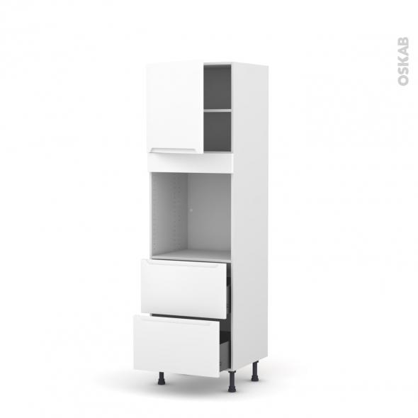 PIMA Blanc - Colonne Four N°1657  - 1 porte 2 casseroliers - L60xH195xP58