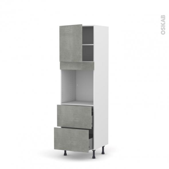 Colonne de cuisine N°1657 - Four encastrable niche 60 - FAKTO Béton - 1 porte 2 casseroliers - L60 x H195 x P58 cm