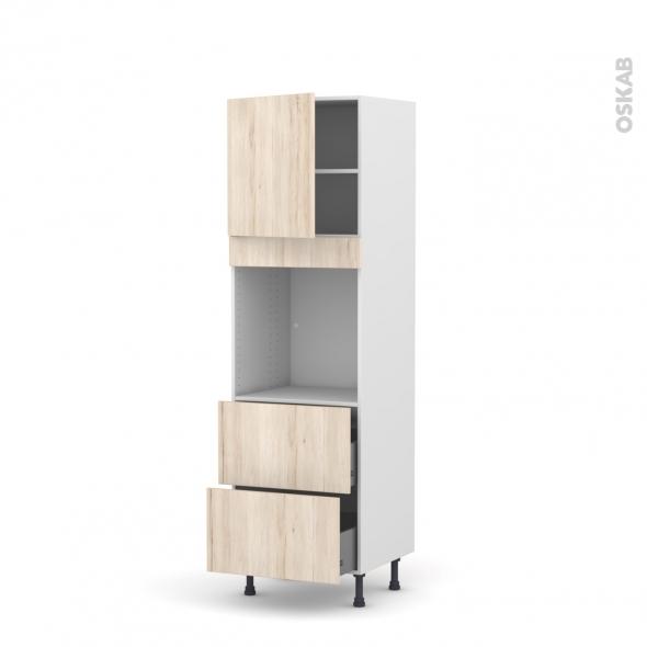 Colonne de cuisine N°1657 - Four encastrable niche 60 - IKORO Chêne clair - 1 porte 2 casseroliers - L60 x H195 x P58 cm