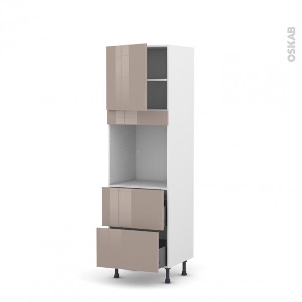 Colonne de cuisine N°1657 - Four encastrable niche 60 - KERIA Moka - 1 porte 2 casseroliers - L60 x H195 x P58 cm
