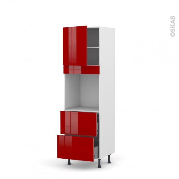 Colonne de cuisine N°1657 - Four encastrable niche 60 - STECIA Rouge - 1 porte 2 casseroliers - L60 x H195 x P58 cm