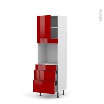 Colonne de cuisine N°1658 - Four encastrable niche 60 - STECIA Rouge - 1 porte 3 tiroirs - L60 x H195 x P58 cm