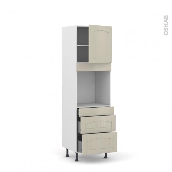SILEN Argile - Colonne Four N°1658  - 1 porte 3 tiroirs - L60xH195xP58 - droite