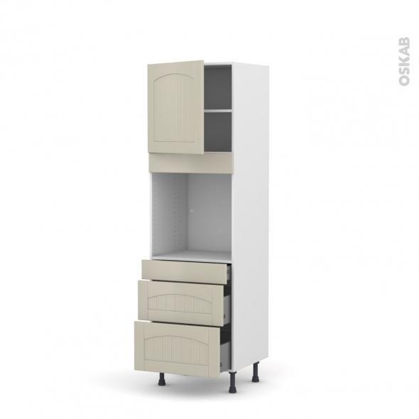 SILEN Argile - Colonne Four N°1658  - 1 porte 3 tiroirs - L60xH195xP58 - gauche