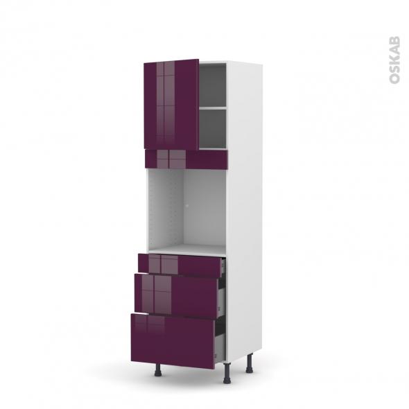 Colonne de cuisine N°1658 - Four encastrable niche 60 - KERIA Aubergine - 1 porte 3 tiroirs - L60 x H195 x P58 cm