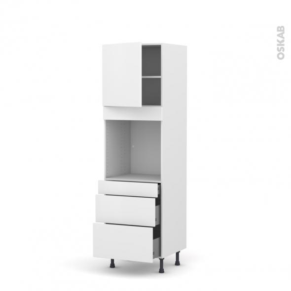 Colonne de cuisine N°1658 - Four encastrable niche 60 - GINKO Blanc - 1 porte 3 tiroirs - L60 x H195 x P58 cm