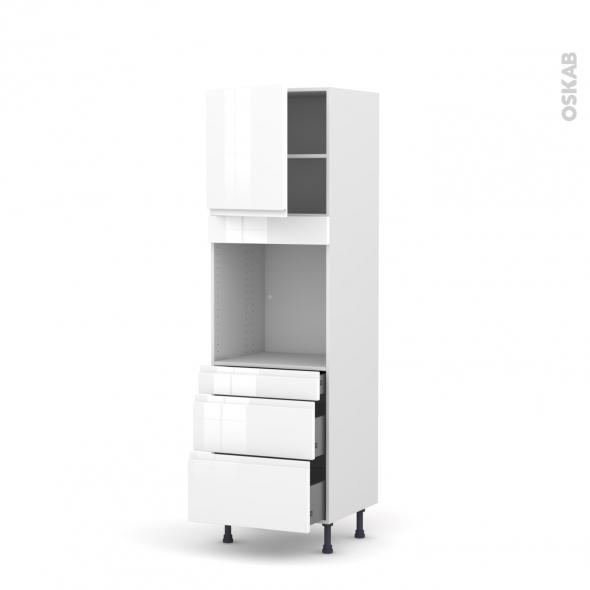 Colonne de cuisine N°1658 - Four encastrable niche 60 - IPOMA Blanc brillant - 1 porte 3 tiroirs - L60 x H195 x P58 cm