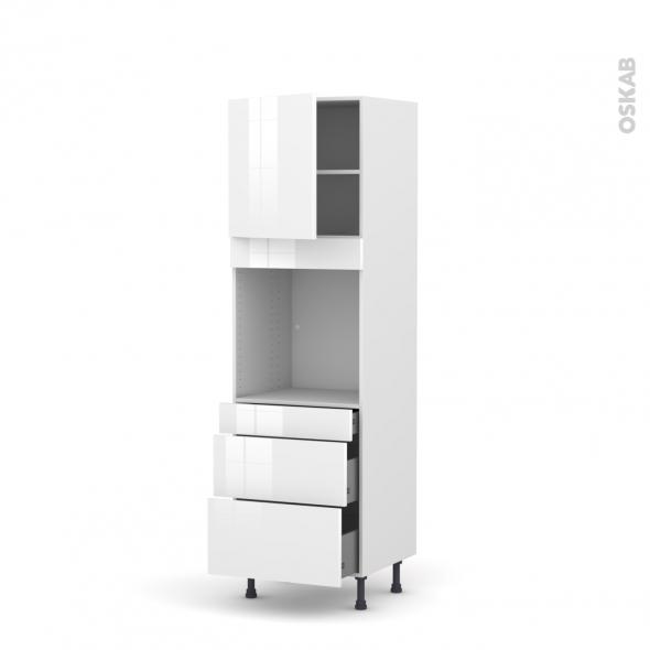 Colonne de cuisine N°1658 - Four encastrable niche 60 - STECIA Blanc - 1 porte 3 tiroirs - L60 x H195 x P58 cm