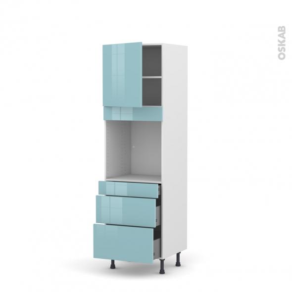 Colonne de cuisine N°1658 - Four encastrable niche 60 - KERIA Bleu - 1 porte 3 tiroirs - L60 x H195 x P58 cm