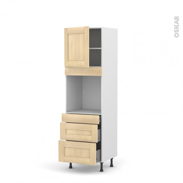 BETULA Bouleau - Colonne Four N°1658  - 1 porte 3 tiroirs - L60xH195xP58