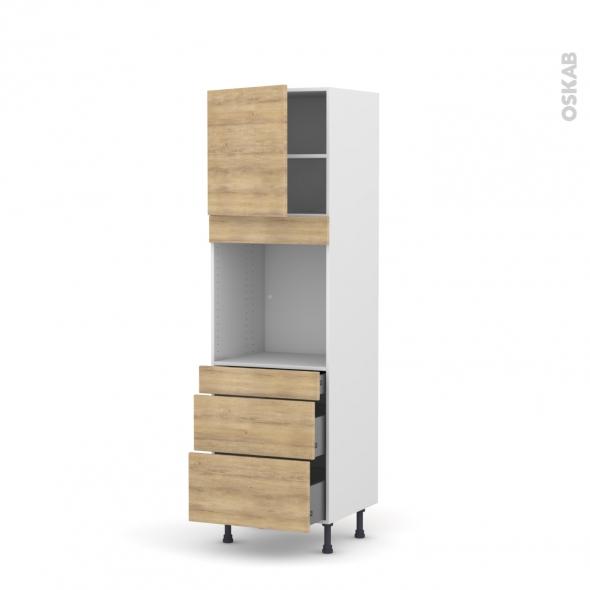 HOSTA Chêne naturel - Colonne Four N°1658  - 1 porte 3 tiroirs - L60xH195xP58