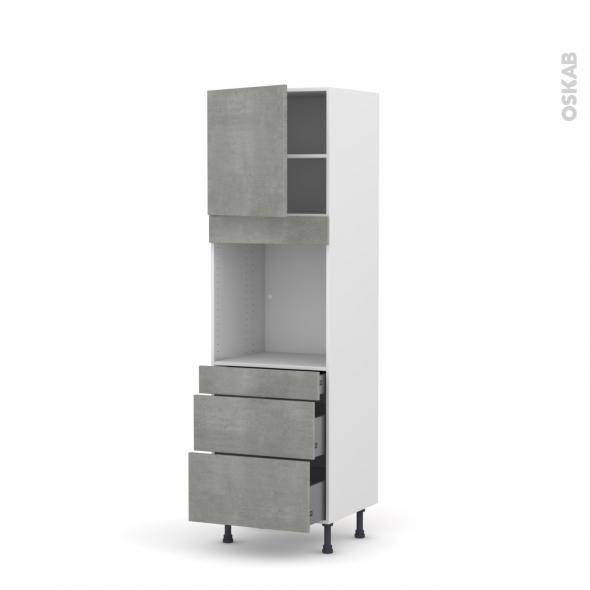 Colonne de cuisine N°1658 - Four encastrable niche 60 - FAKTO Béton - 1 porte 3 tiroirs - L60 x H195 x P58 cm