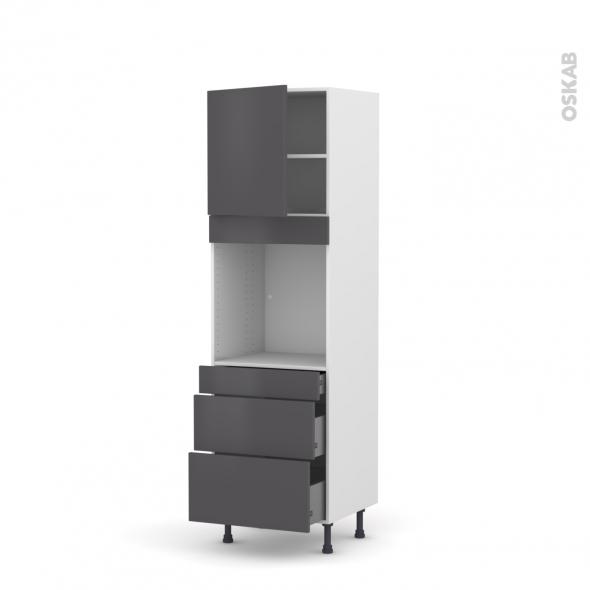 Colonne de cuisine N°1658 - Four encastrable niche 60 - GINKO Gris - 1 porte 3 tiroirs - L60 x H195 x P58 cm
