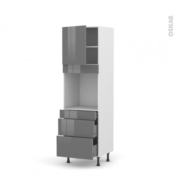 Colonne de cuisine N°1658 - Four encastrable niche 60 - STECIA Gris - 1 porte 3 tiroirs - L60 x H195 x P58 cm
