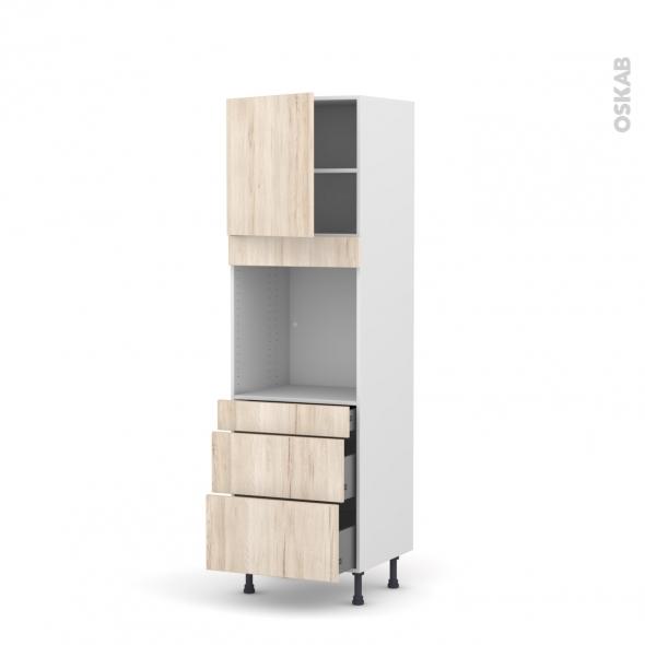 Colonne de cuisine N°1658 - Four encastrable niche 60 - IKORO Chêne clair - 1 porte 3 tiroirs - L60 x H195 x P58 cm