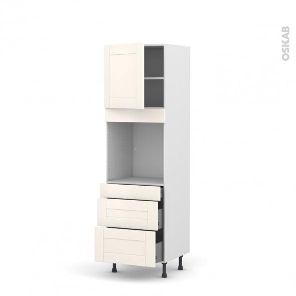 Colonne de cuisine N°1658 - Four encastrable niche 60 - FILIPEN Ivoire - 1 porte 3 tiroirs - L60 x H195 x P58 cm