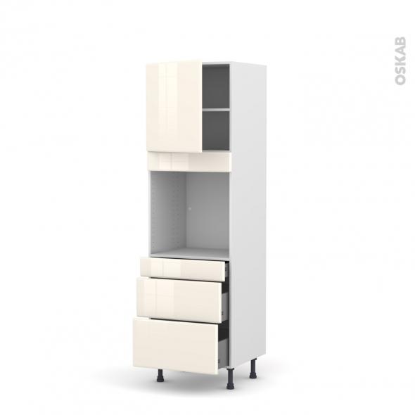 IRIS Ivoire - Colonne Four N°1658  - 1 porte 3 tiroirs - L60xH195xP58