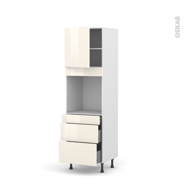 Colonne de cuisine N°1658 - Four encastrable niche 60 - KERIA Ivoire - 1 porte 3 tiroirs - L60 x H195 x P58 cm