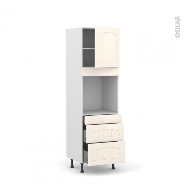 SILEN Ivoire - Colonne Four N°1658  - 1 porte 3 tiroirs - L60xH195xP58 - droite