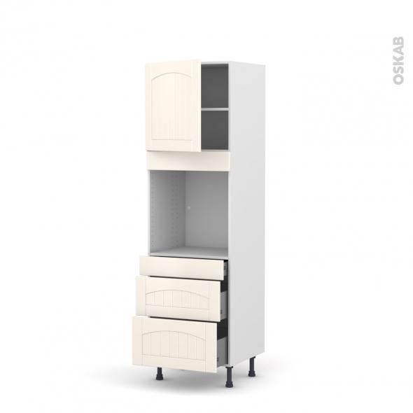 SILEN Ivoire - Colonne Four N°1658  - 1 porte 3 tiroirs - L60xH195xP58 - gauche